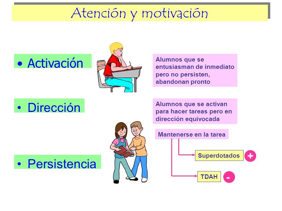 Atención y motivación Activación Dirección Persistencia + -