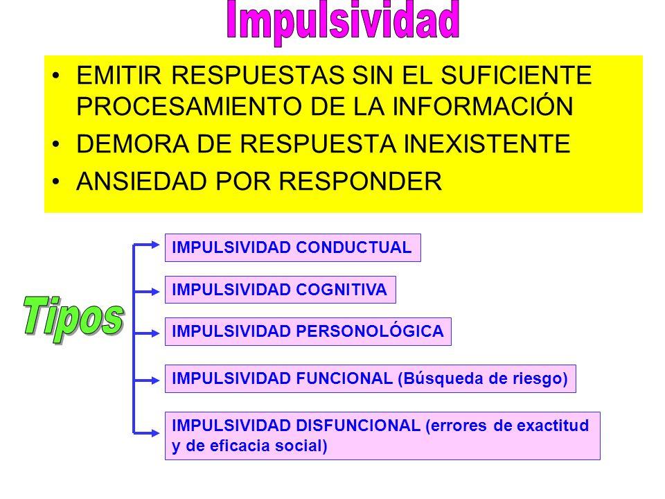Impulsividad EMITIR RESPUESTAS SIN EL SUFICIENTE PROCESAMIENTO DE LA INFORMACIÓN. DEMORA DE RESPUESTA INEXISTENTE.
