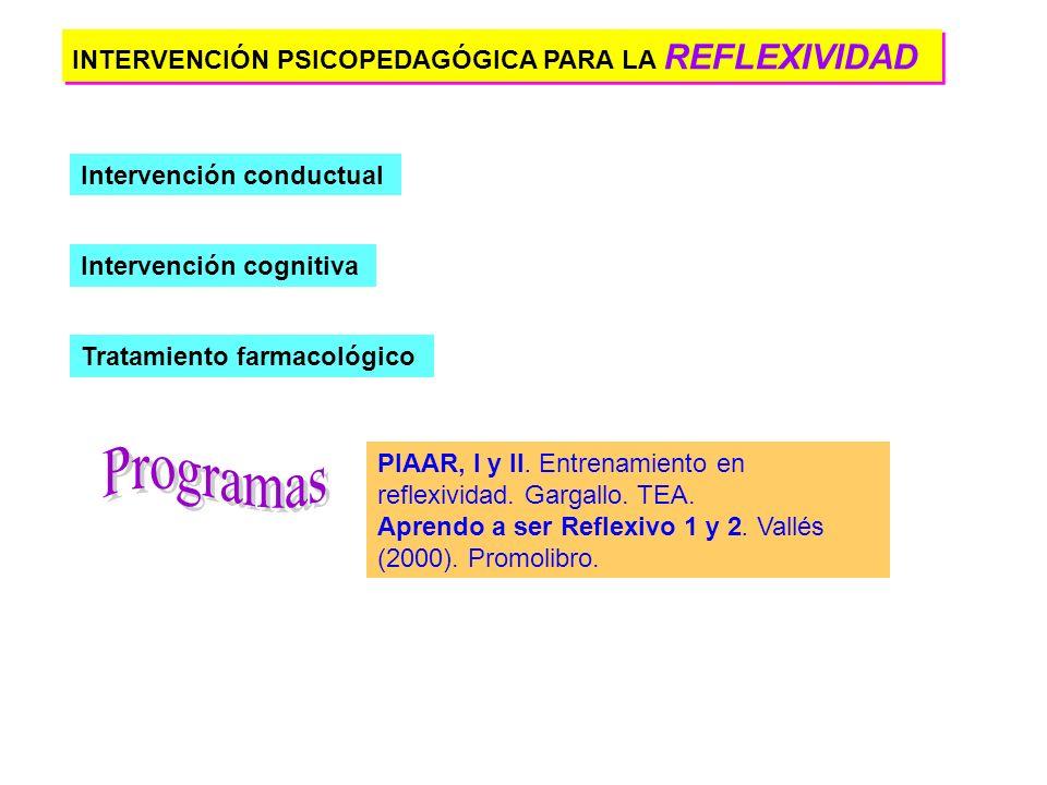 Programas INTERVENCIÓN PSICOPEDAGÓGICA PARA LA REFLEXIVIDAD