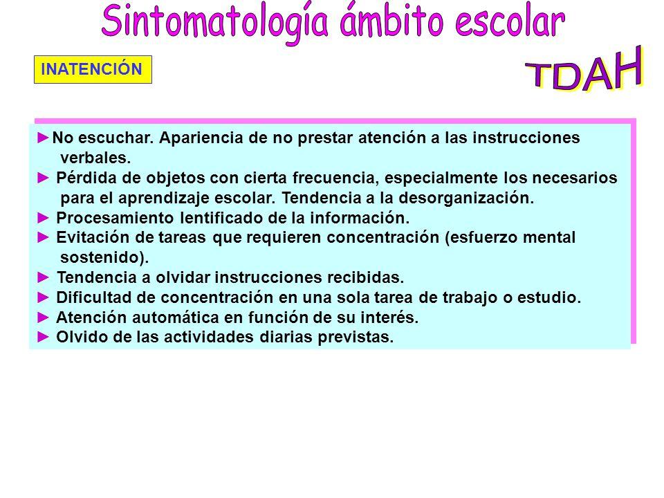 Sintomatología ámbito escolar