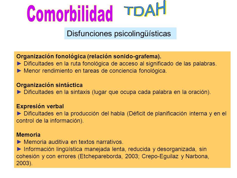 TDAH Comorbilidad Disfunciones psicolingüísticas