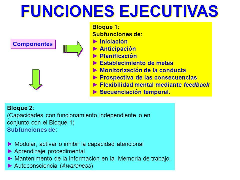 FUNCIONES EJECUTIVAS Bloque 1: Subfunciones de: ► Iniciación