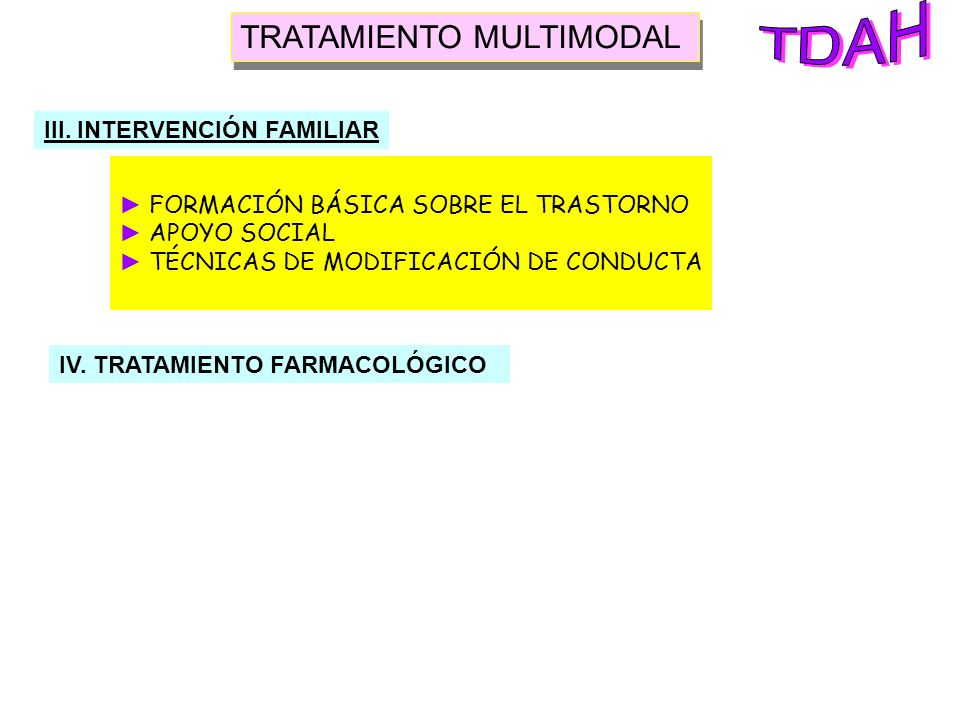 TDAH TRATAMIENTO MULTIMODAL III. INTERVENCIÓN FAMILIAR