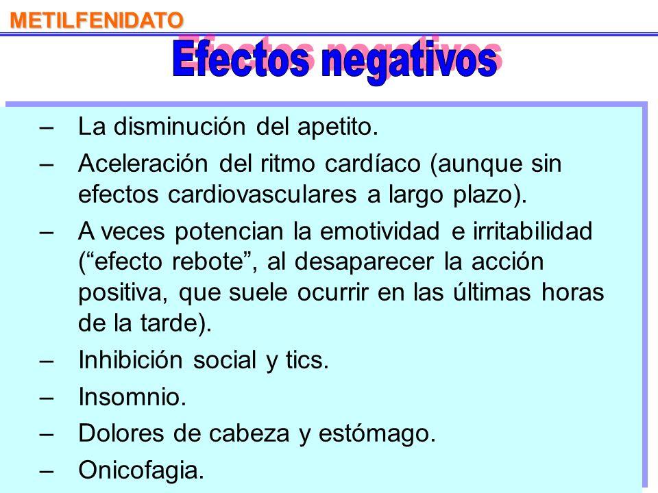 Efectos negativos La disminución del apetito.