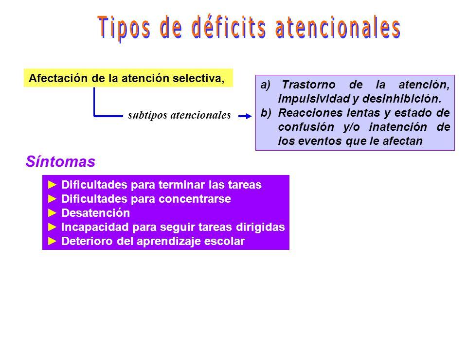 Tipos de déficits atencionales