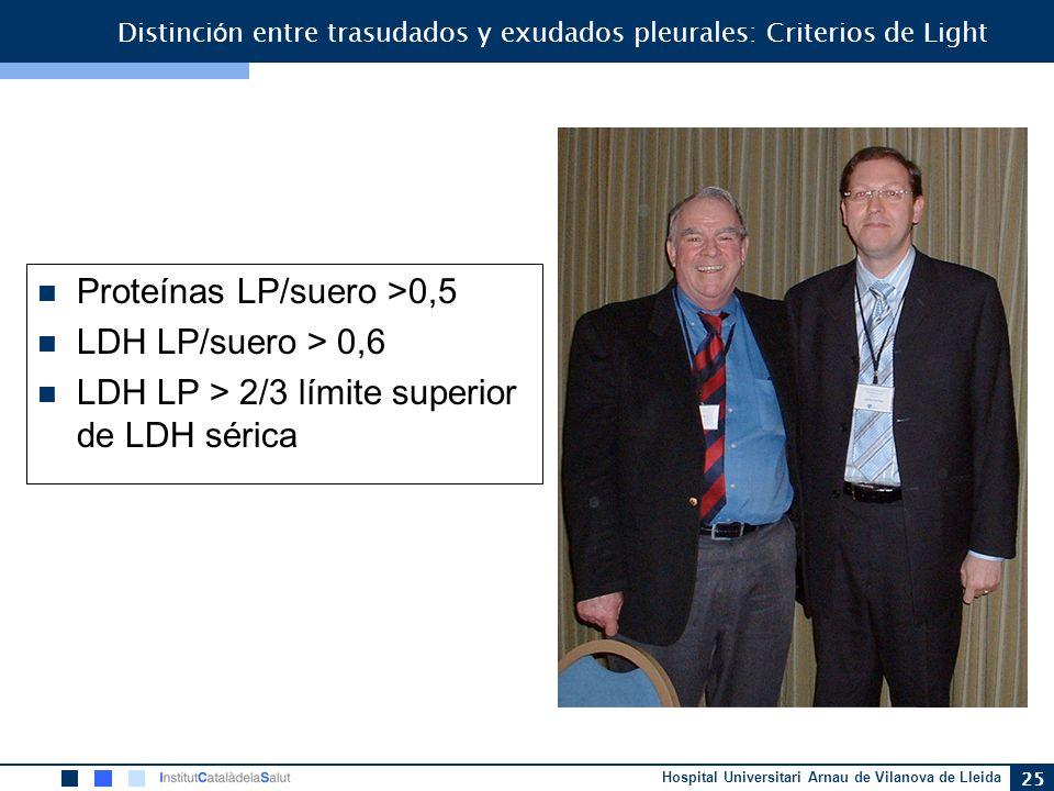 Distinción entre trasudados y exudados pleurales: Criterios de Light