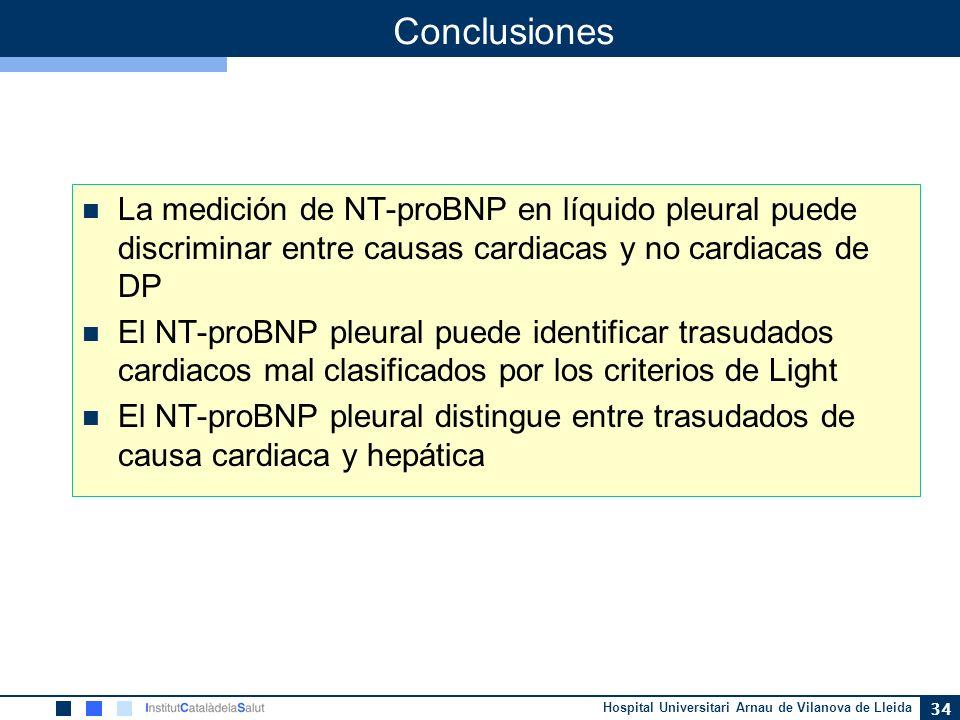 ConclusionesLa medición de NT-proBNP en líquido pleural puede discriminar entre causas cardiacas y no cardiacas de DP.