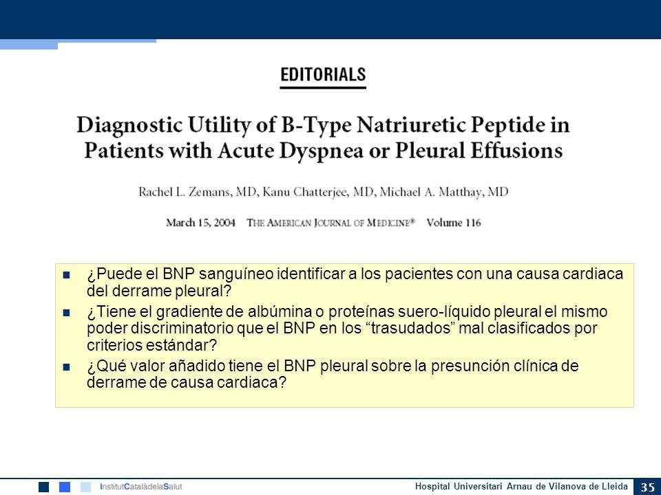 ¿Puede el BNP sanguíneo identificar a los pacientes con una causa cardiaca del derrame pleural