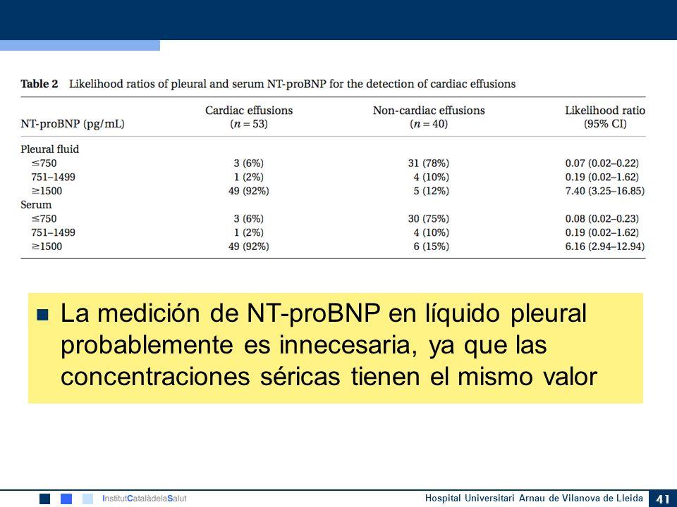 La medición de NT-proBNP en líquido pleural probablemente es innecesaria, ya que las concentraciones séricas tienen el mismo valor