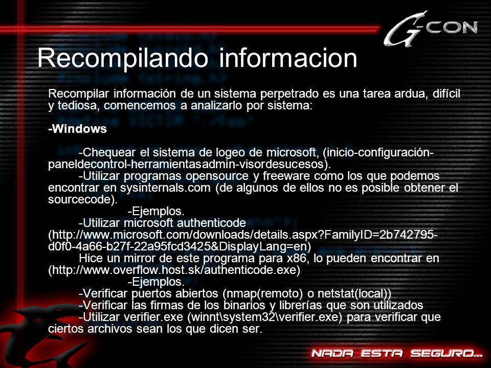 Recompilando informacion