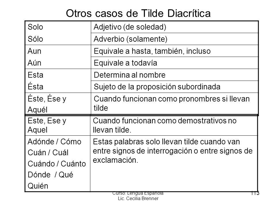 Otros casos de Tilde Diacrítica