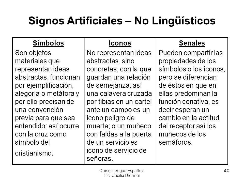 Signos Artificiales – No Lingüísticos