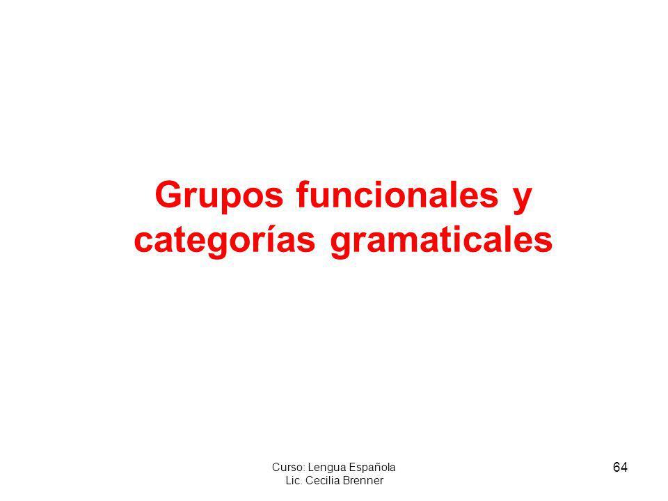 Grupos funcionales y categorías gramaticales
