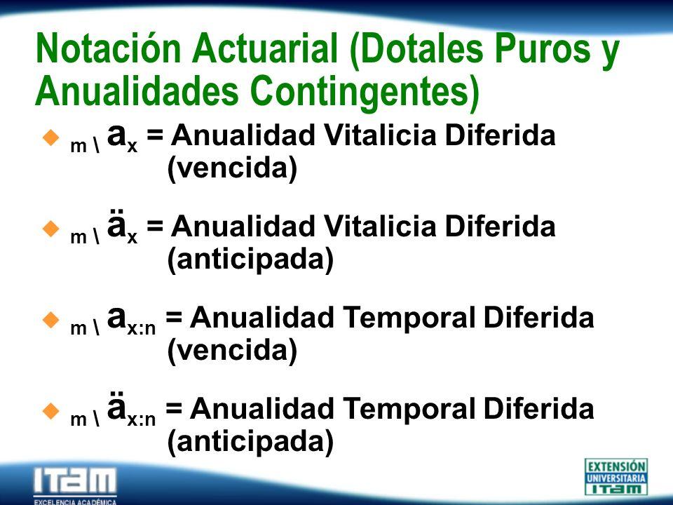 Notación Actuarial (Dotales Puros y Anualidades Contingentes)
