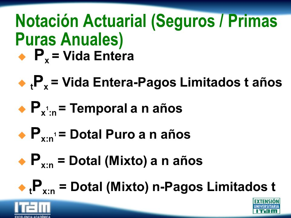 Notación Actuarial (Seguros / Primas Puras Anuales)