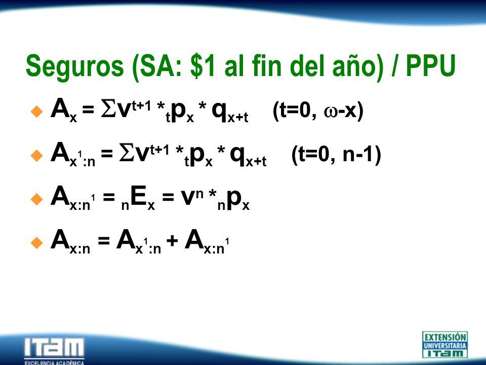 Seguros (SA: $1 al fin del año) / PPU