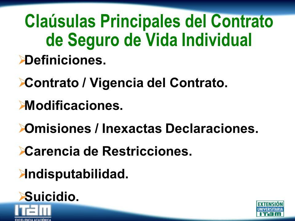 Claúsulas Principales del Contrato de Seguro de Vida Individual