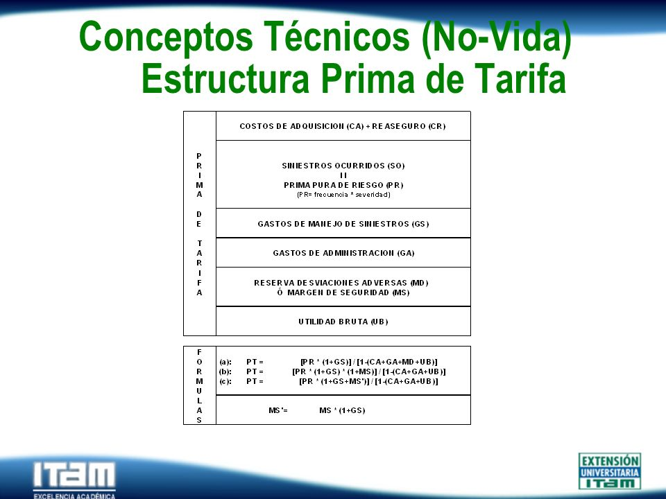 Conceptos Técnicos (No-Vida) Estructura Prima de Tarifa