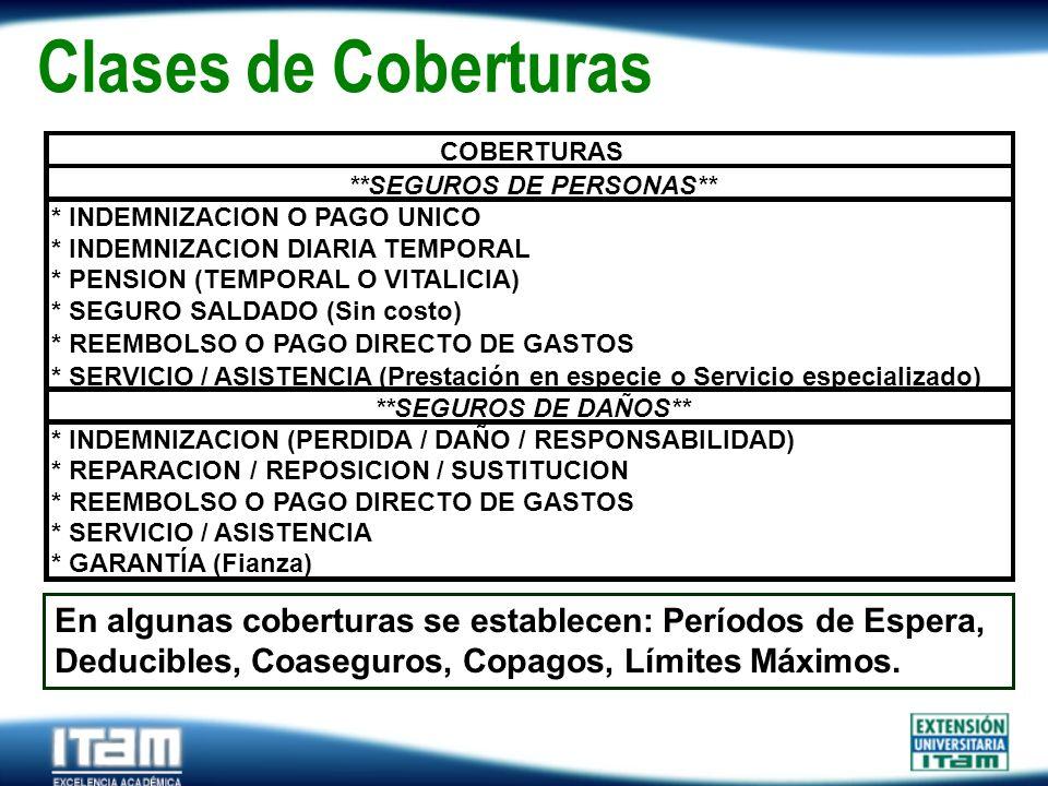 Clases de Coberturas * INDEMNIZACION (PERDIDA / DAÑO / RESPONSABILIDAD) * REPARACION / REPOSICION / SUSTITUCION.