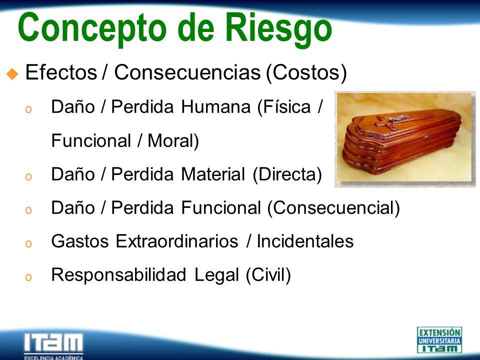 Concepto de Riesgo Efectos / Consecuencias (Costos)