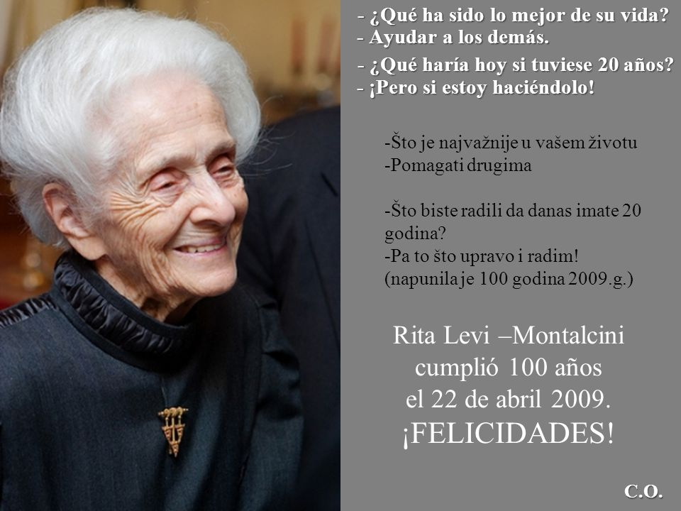 Rita Levi –Montalcini cumplió 100 años