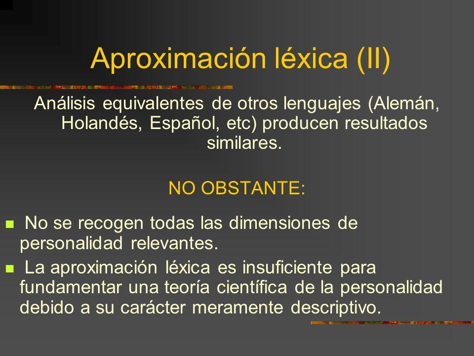 Aproximación léxica (II)