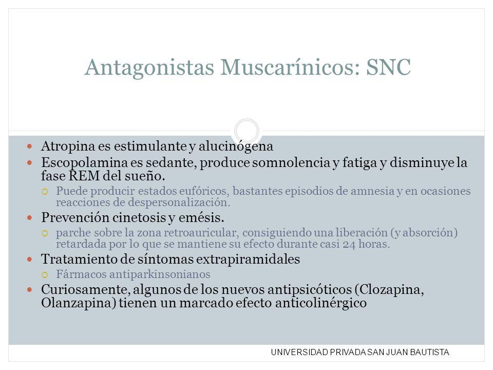 Antagonistas Muscarínicos: SNC