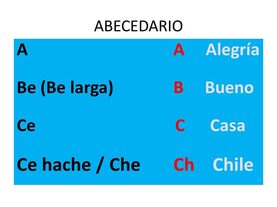 Ce hache / Che Ch Chile A A Alegría Be (Be larga) B Bueno Ce C Casa