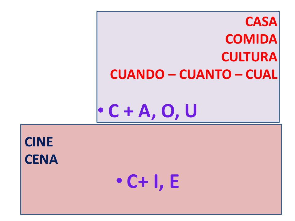 C+ I, E C + A, O, U CASA COMIDA CULTURA CUANDO – CUANTO – CUAL CINE