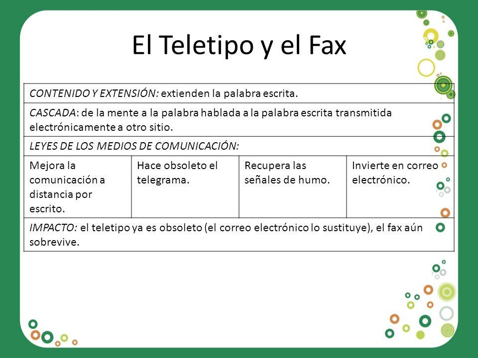 El Teletipo y el Fax CONTENIDO Y EXTENSIÓN: extienden la palabra escrita.