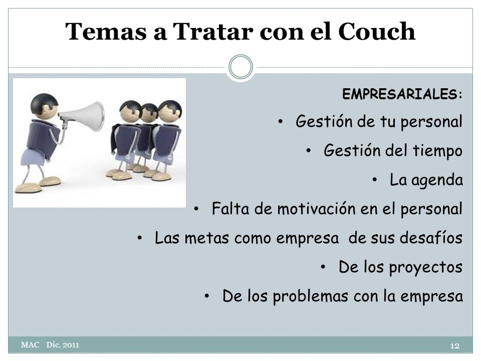 Temas a Tratar con el Couch
