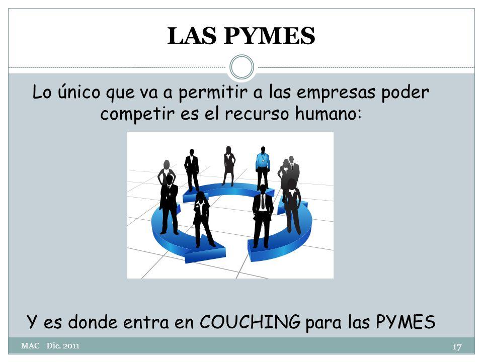 LAS PYMES Lo único que va a permitir a las empresas poder competir es el recurso humano: Y es donde entra en COUCHING para las PYMES