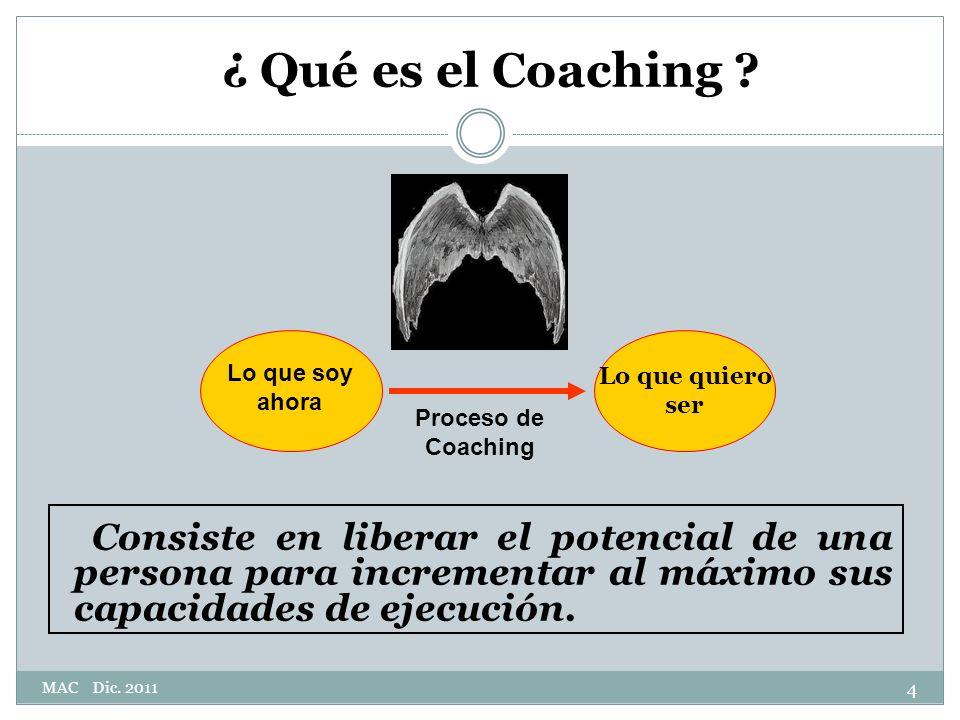 ¿ Qué es el Coaching Consiste en liberar el potencial de una persona para incrementar al máximo sus capacidades de ejecución.