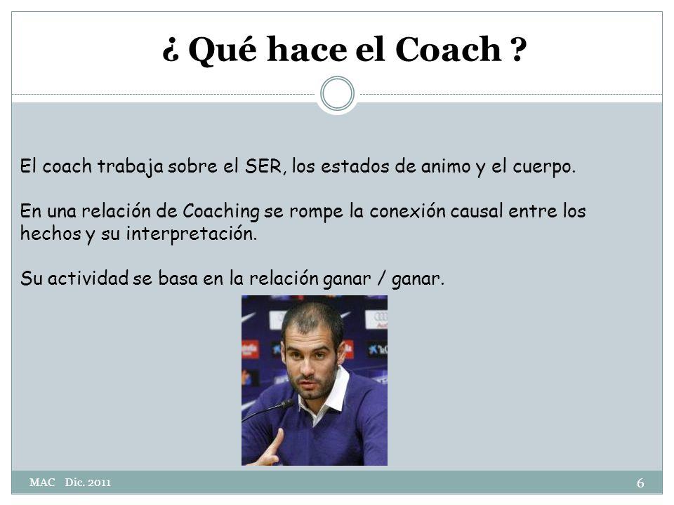 ¿ Qué hace el Coach El coach trabaja sobre el SER, los estados de animo y el cuerpo.