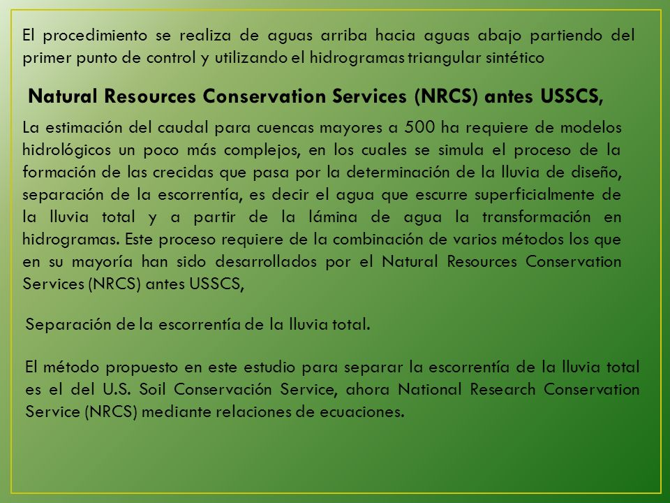 Natural Resources Conservation Services (NRCS) antes USSCS,