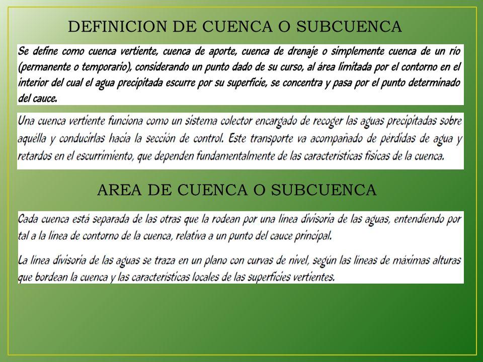DEFINICION DE CUENCA O SUBCUENCA