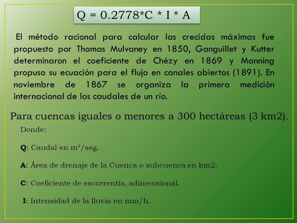 Q = 0.2778*C * I * A