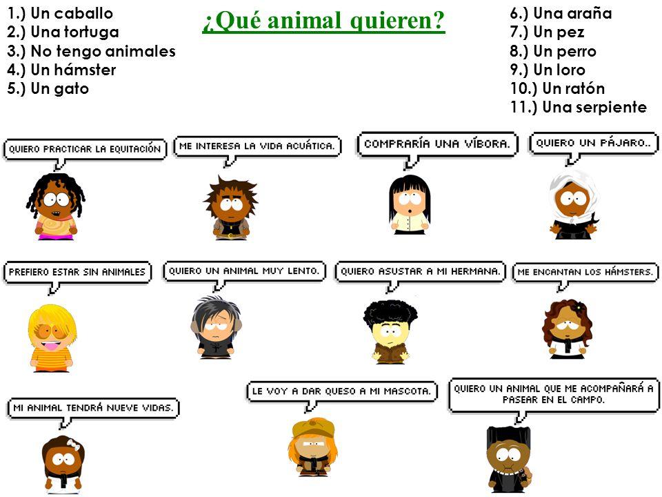 ¿Qué animal quieren 1.) Un caballo 2.) Una tortuga