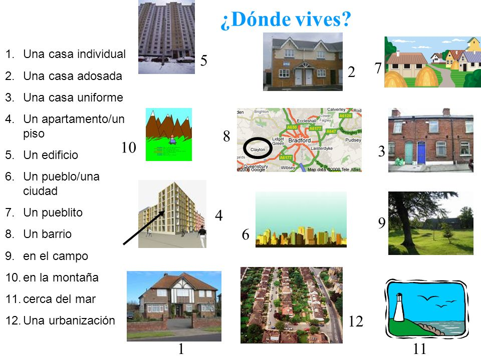 ¿Dónde vives 5 7 2 8 10 3 4 9 6 12 1 11 Una casa individual