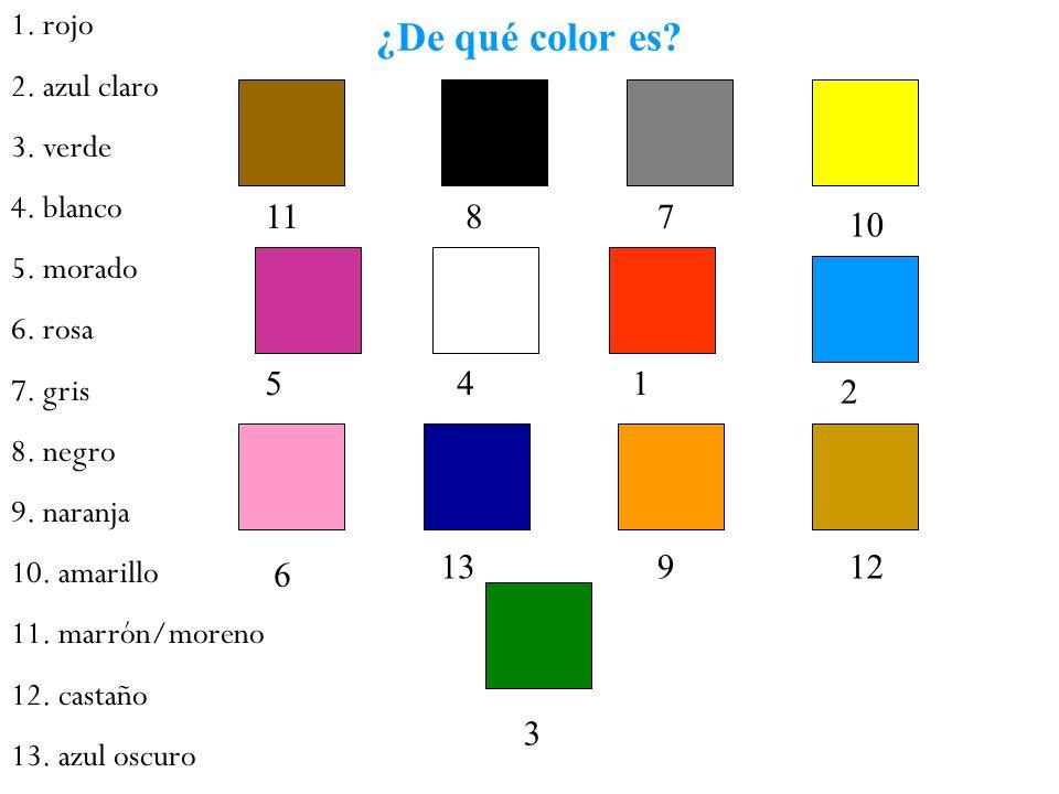 ¿De qué color es 11 8 7 10 5 4 1 2 13 9 12 6 3 1. rojo 2. azul claro