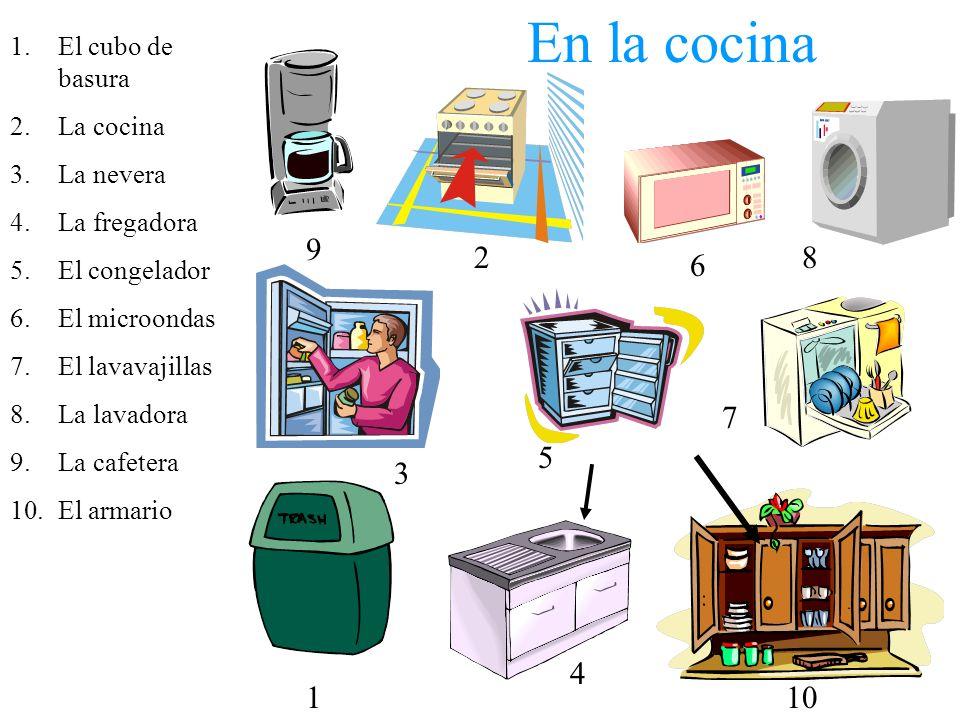 En la cocina 9 2 8 6 7 5 3 4 1 10 El cubo de basura La cocina