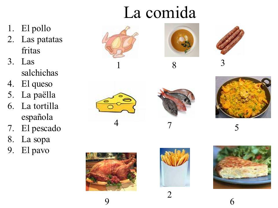 La comida El pollo Las patatas fritas Las salchichas El queso