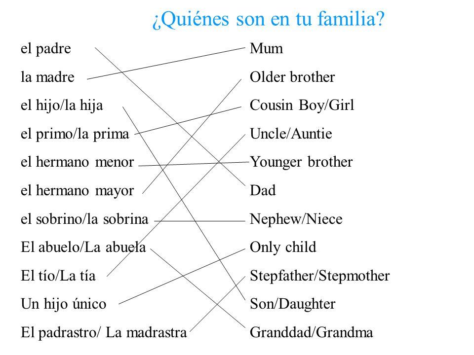 ¿Quiénes son en tu familia