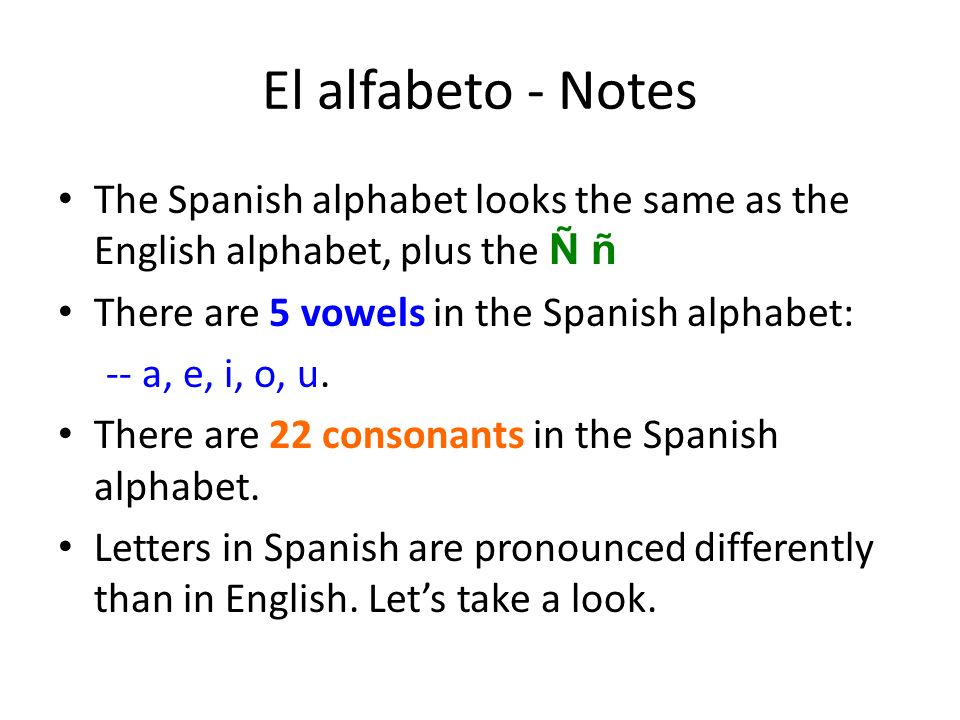 El alfabeto - Notes The Spanish alphabet looks the same as the English alphabet, plus the Ñ ñ. There are 5 vowels in the Spanish alphabet: