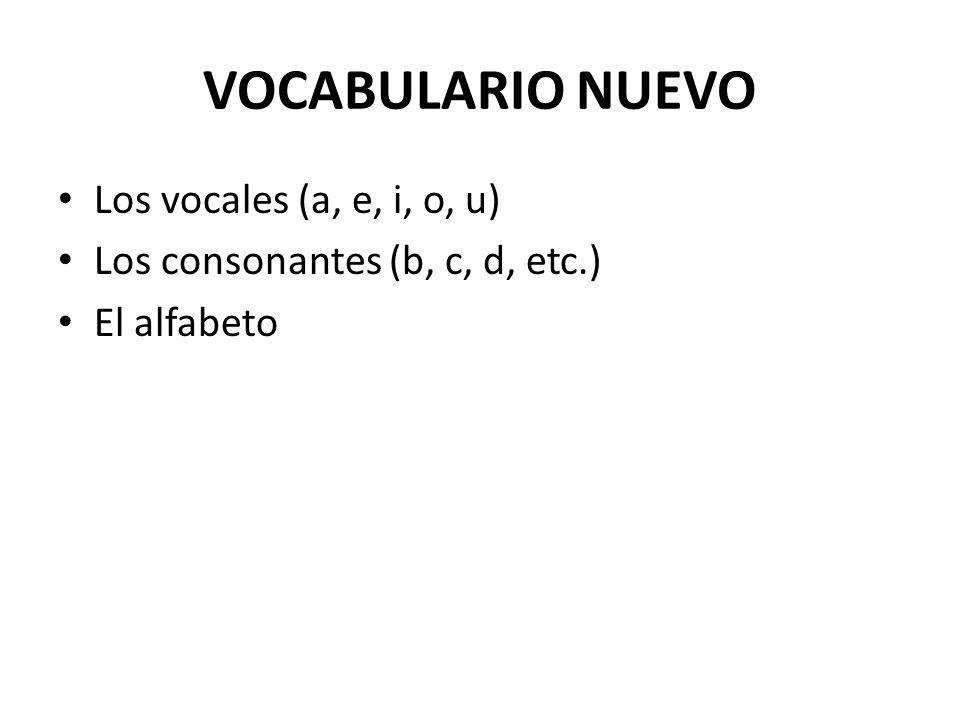 VOCABULARIO NUEVO Los vocales (a, e, i, o, u)