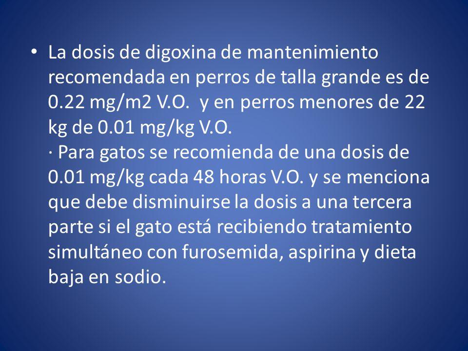 La dosis de digoxina de mantenimiento recomendada en perros de talla grande es de 0.22 mg/m2 V.O.