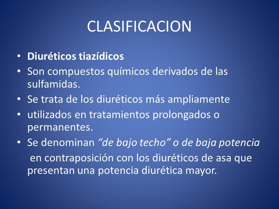CLASIFICACION Diuréticos tiazídicos