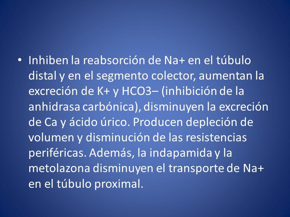 Inhiben la reabsorción de Na+ en el túbulo distal y en el segmento colector, aumentan la excreción de K+ y HCO3– (inhibición de la anhidrasa carbónica), disminuyen la excreción de Ca y ácido úrico.