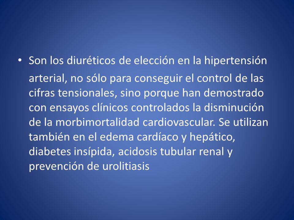 Son los diuréticos de elección en la hipertensión