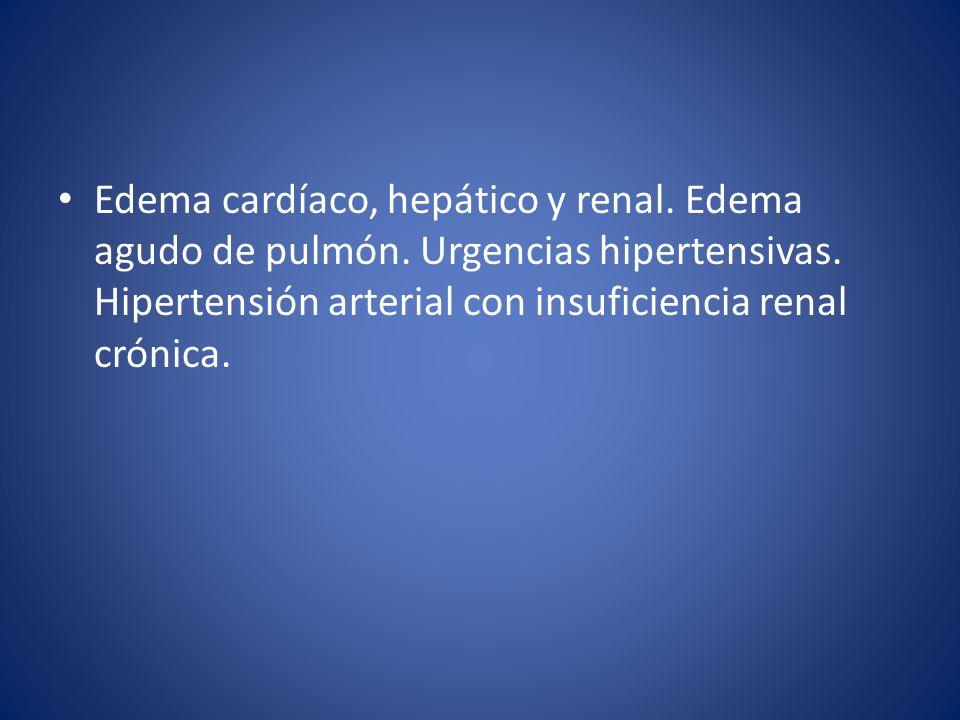 Edema cardíaco, hepático y renal. Edema agudo de pulmón